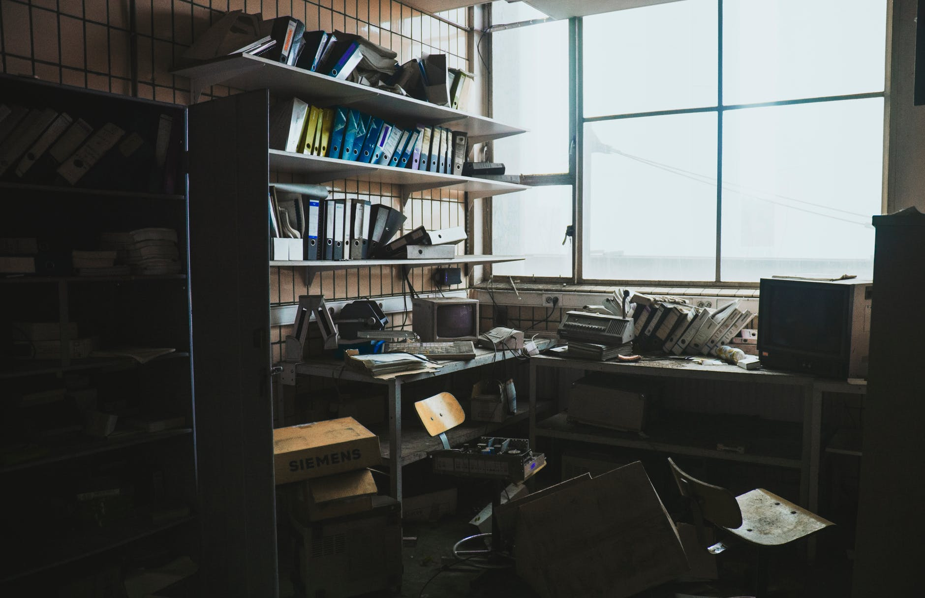 photo of an abandoned workspace